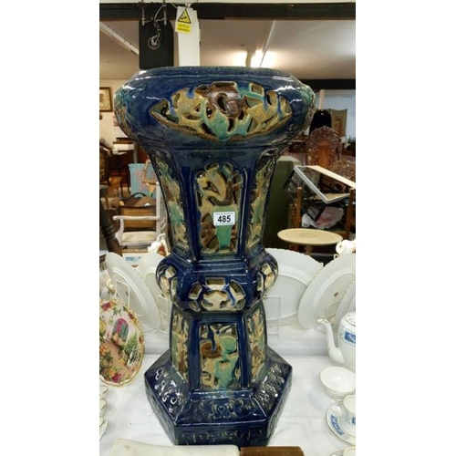 485 - A Victorian majolica plant stand...