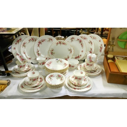 498 - Approximatley 45 pieces of Royal Albert Lavender rose tea and dinner ware...
