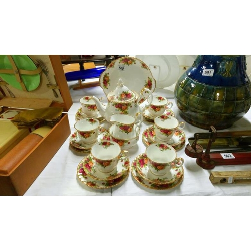 500 - A 22 piece Royal Albert Old Country Roses tea set...