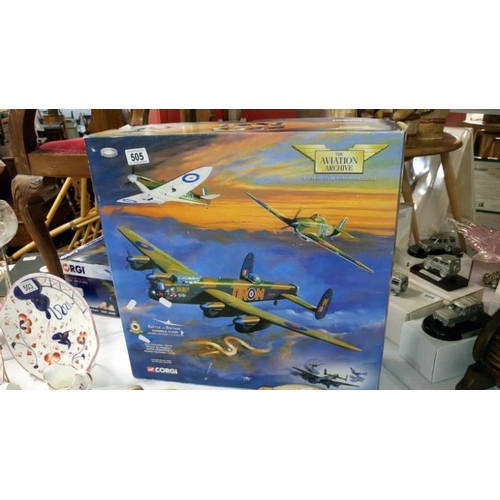 505 - A Corgi aviation model aeroplanes of The Battle of Britain memorial flight containing Avro Lancaster...