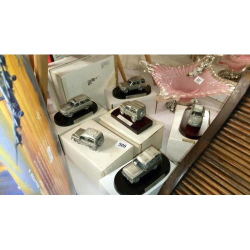506 - 6 boxed Land Rover main dealer issue pewter models including Range Rover and Discovery...