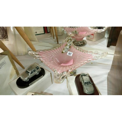 507 - A pink glass bowl on stand...