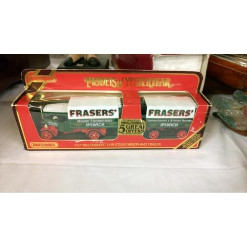511 - 5 boxed Yesteryear models including YS-16 1929 Scammel 100 ton truck and trailer with locomotive...