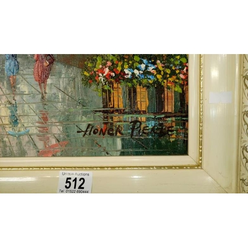 512 - An oil on board of a continental market square signed Honor Pierre...