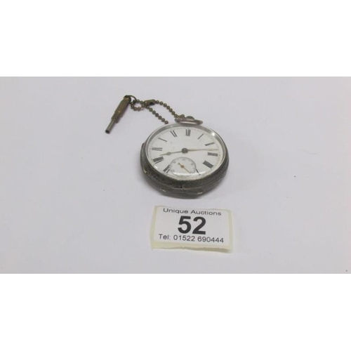 52 - A silver pocket watch...