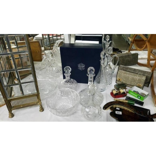 522 - 2 crystal glass bowls, 5 decanters and a basket...