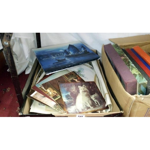 548 - A box of various unframed prints...