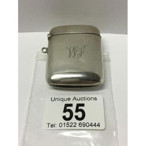 55 - A silver vesta case...