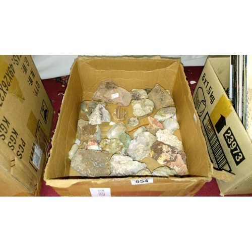 554 - A box of crystal and rock samples...