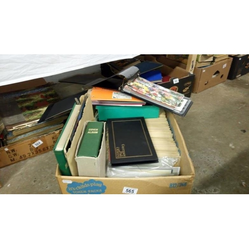 565 - A box of various first day covers and collector's stamps...