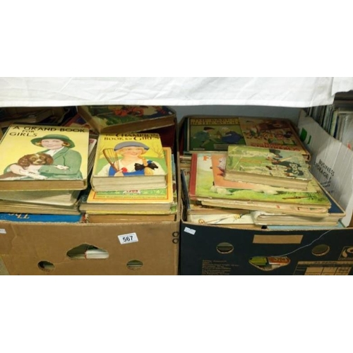 567 - 2 boxes of children's books including The Boys Own Annual, Chatterbox, Schoolgirl's companion etc...