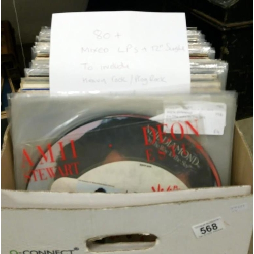 568 - A box of in excess of 80 mixed LP records and 12'' singles including heavy rock, prog rock, picture ...