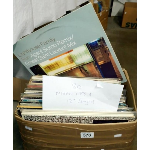570 - A box of approximately 80 mixed LP records and 12'' singles...