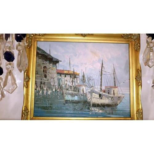 580 - 2 gilt framed oil on canvas painting of fishing boats, one signed Thompson and the other signed W Jo...