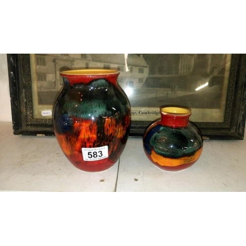 583 - 2 Poole pottery vases...