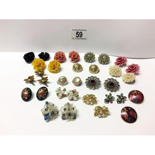 59 - A mixed lot of pairs of earrings...
