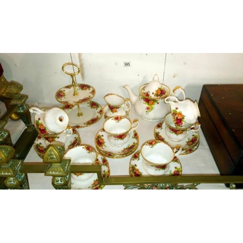 595 - 24 pieces of Royal Albert Old Country Roses tea ware...
