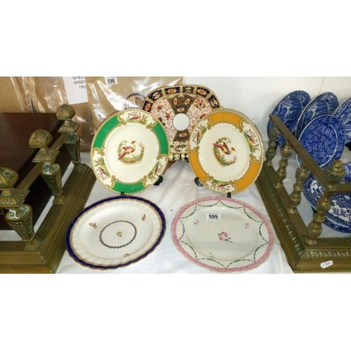 599 - 2 Myott's Chelsea bird plates, 2 early Derby plates and a Davenport Imari plate...