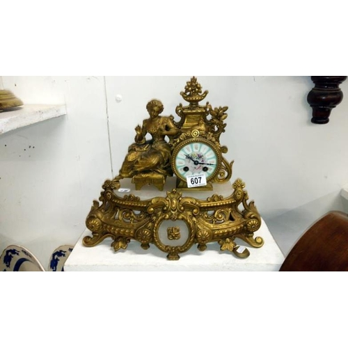 607 - A French style gilt clock with pendulum marked Henri Marc's, Paris on movement, a/f...
