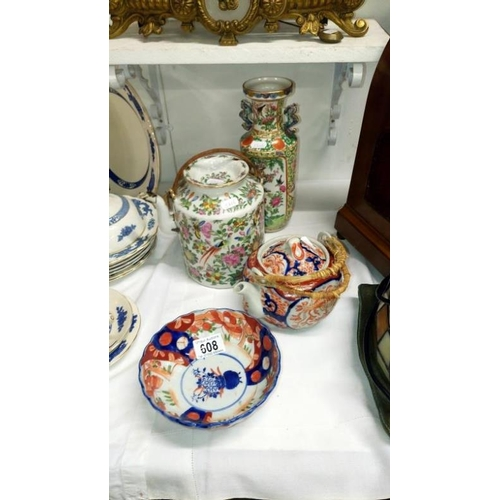 608 - 4 pieces of Oriental china including a/f teapot...