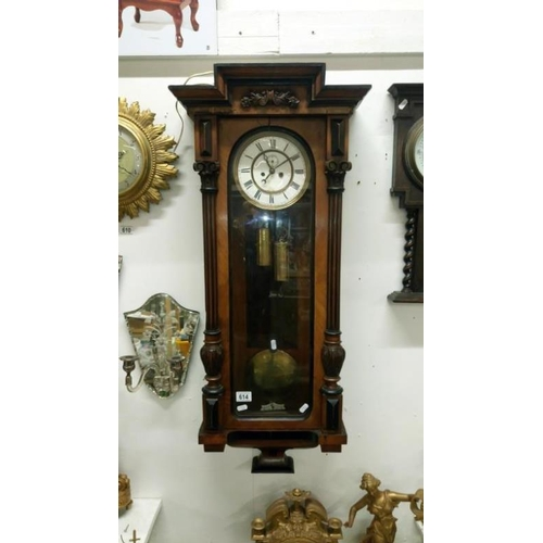 614 - A Victorian double weight Vienna wall clock...