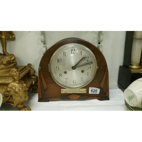 620 - A 1930's mantel clock with pendulum...