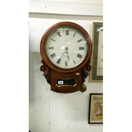 624 - A Victorian James Usher, Lincoln drop dial wall clock with Fusee movement (keys in office)...