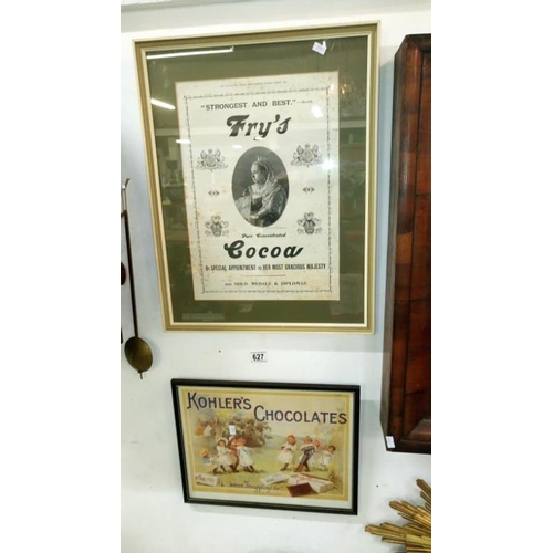 627 - 2 framed and glazed chocolate advertisements...