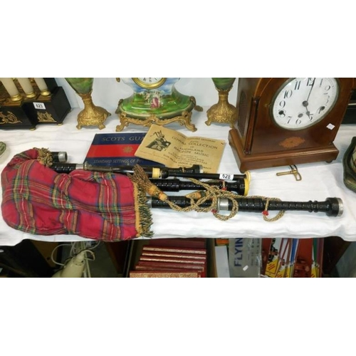 628 - A set of bagpipes marked Macpherson, Edinburgh, Scotland...