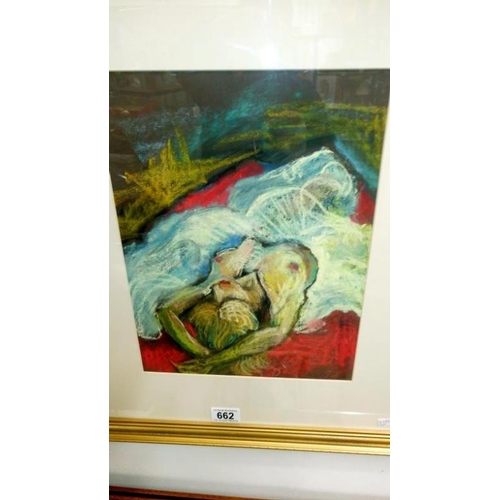 662 - A signed pastel of a reclining nude by Lewis Davies (1939-2010)...