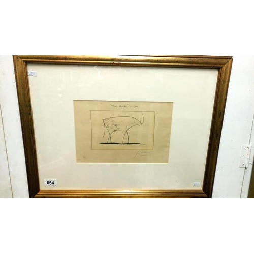 664 - A Pablo Picasso print, possibly artist proof, entitled 'The Bull' and signed in pencil Picasso...