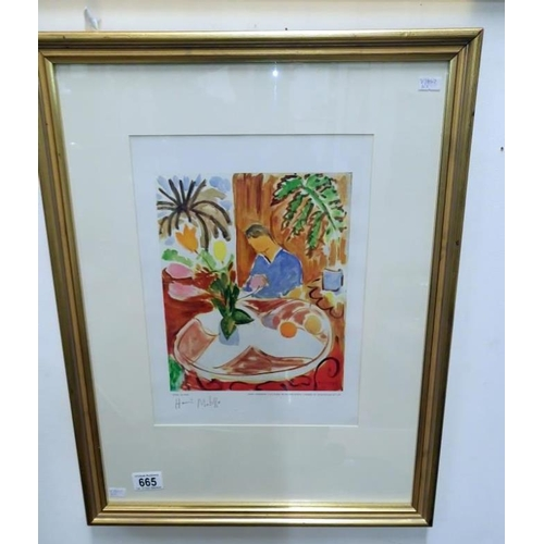 665 - A henri Matisse heliogravure print entitled 'Petit Interieur a la Table de Marbre Ronde, Palmier Et ...