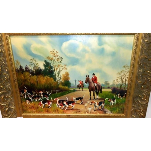 676 - An oil on board fox hunting scene signed Frank Giles...