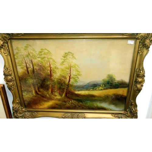 679 - A pair of woodland landscape oil painting, signed (possibly Guinnings)...