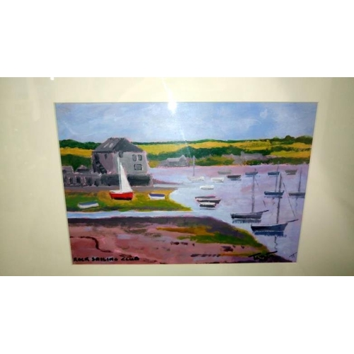 682 - A signed Cornish school painting in acrylics entitled 'Rock Sailing club, Cornwall' by Tim Treaguest...