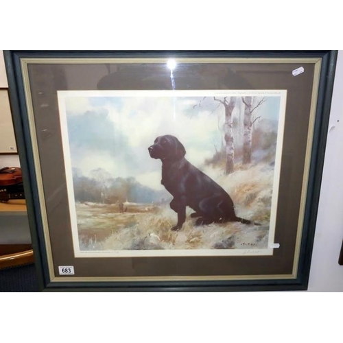 683 - A John Trickett limited edition print of a black labrador, framed and glazed, signed and dated 1983...
