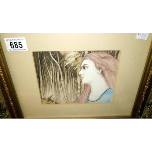 685 - A water colour of a lady with dense woodland background...