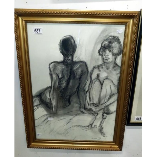 687 - A signed charcoal study of seated nudes by Lewis Davies (1939-2010)...