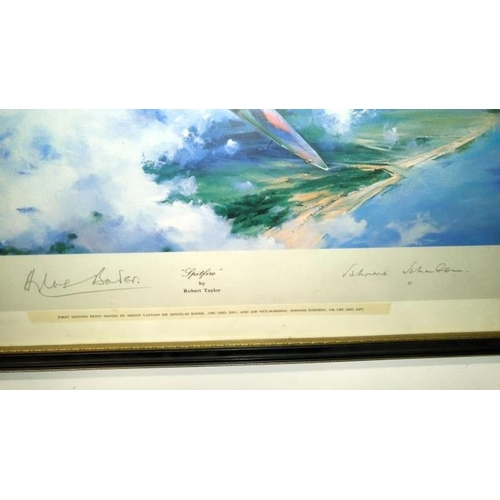 688 - A Robert Taylor Spitfire R.A.F. print signed by Douglas Bader and Johnnie Johnson...