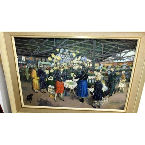 691 - A large oil painting 'The Flower Market' signed Ben Buxton (Canvas 62 x 92cm)...
