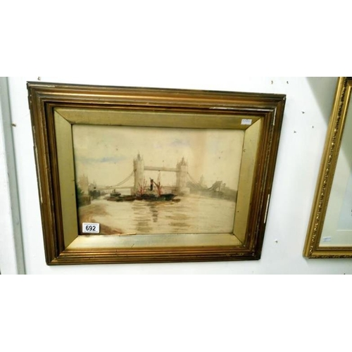 692 - A water colour signed and inscribed Winefred Cadwallader Tower Bridge 1903...