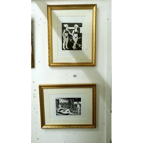693 - A pair of artist's proof linocut prints of beach scenes b y Bernard J Cotes ( 1 x 2/50 and 1 x 4/50)...