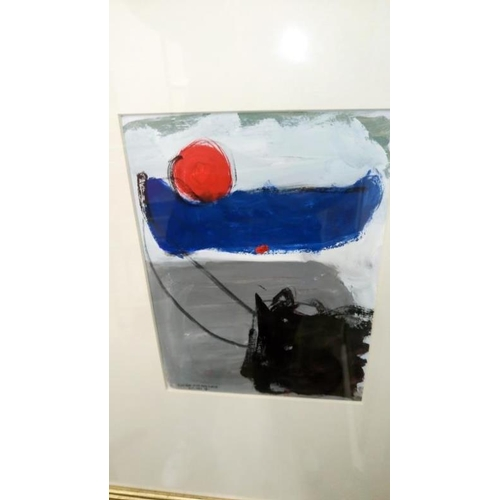 694 - 2 Cornish school abstracts entitled 'Blue Boat with Red Circles St. Ives' signed with monogram and o...
