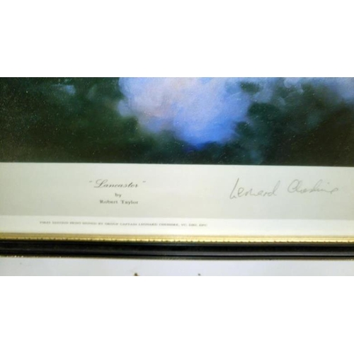 701 - 2 Robert Taylor prints being Lancaster signed Leonard Cheshire and Hurricane signed Wing Commander S...