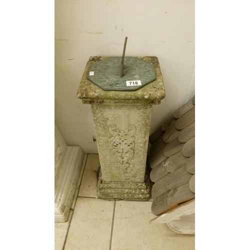 718 - A garden sundial on pedestal...