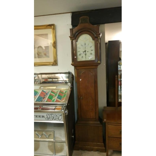 723 - A 19th century oak pagoda long case clock by J Crofts, Newbury complete with weights and pendulum...