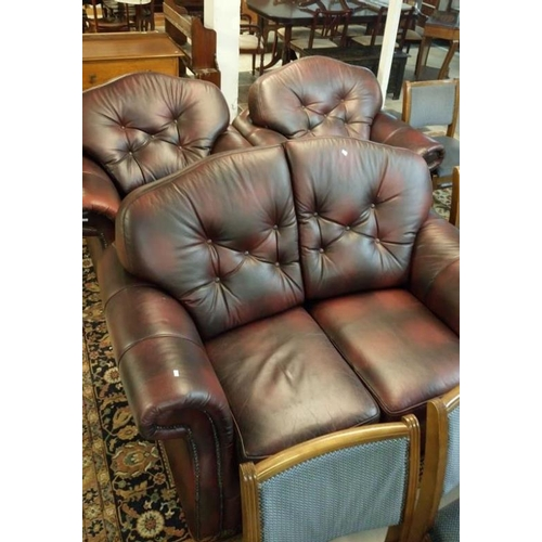 728 - A good quality brown leather 3 piece suite comprising 2 seat sofa and 2 chairs...