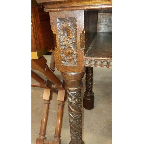 729 - An oak side table (missing drawer)...