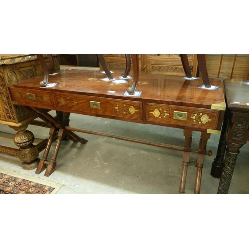 730 - A mahogany 3 drawer side table with brass inlay...