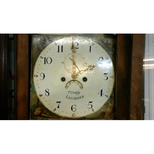 754 - An oak cased 8 day long case clock with painted dial by T Gadsby, Leicester...